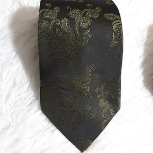 Mizrahi Floral Scroll Ghost Pattern Neck Tie